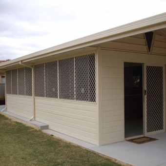 Enclosed gable patio with security screens